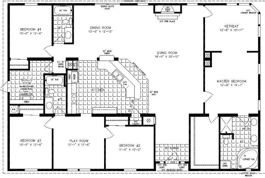 exceptional 4 bedroom modular home plans 3 4 bedroom mobile home floor plans