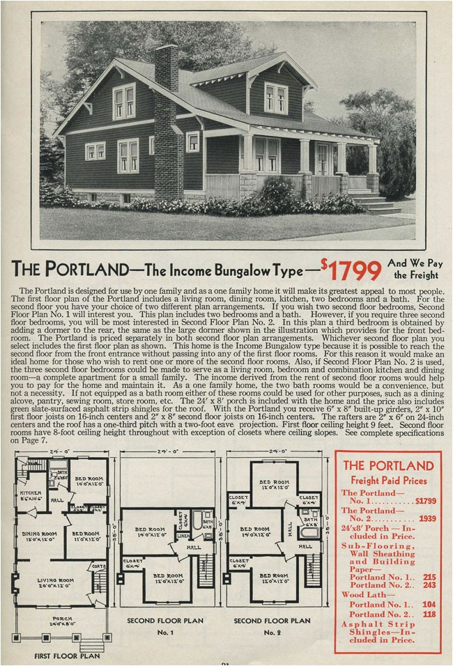 Aladdin Homes Floor Plans Gabled Dormer Portland Craftsman Style Bungalow 1931
