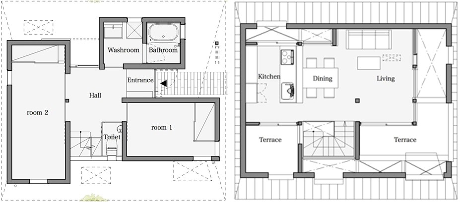 houseaa nara city features roof designed privacy
