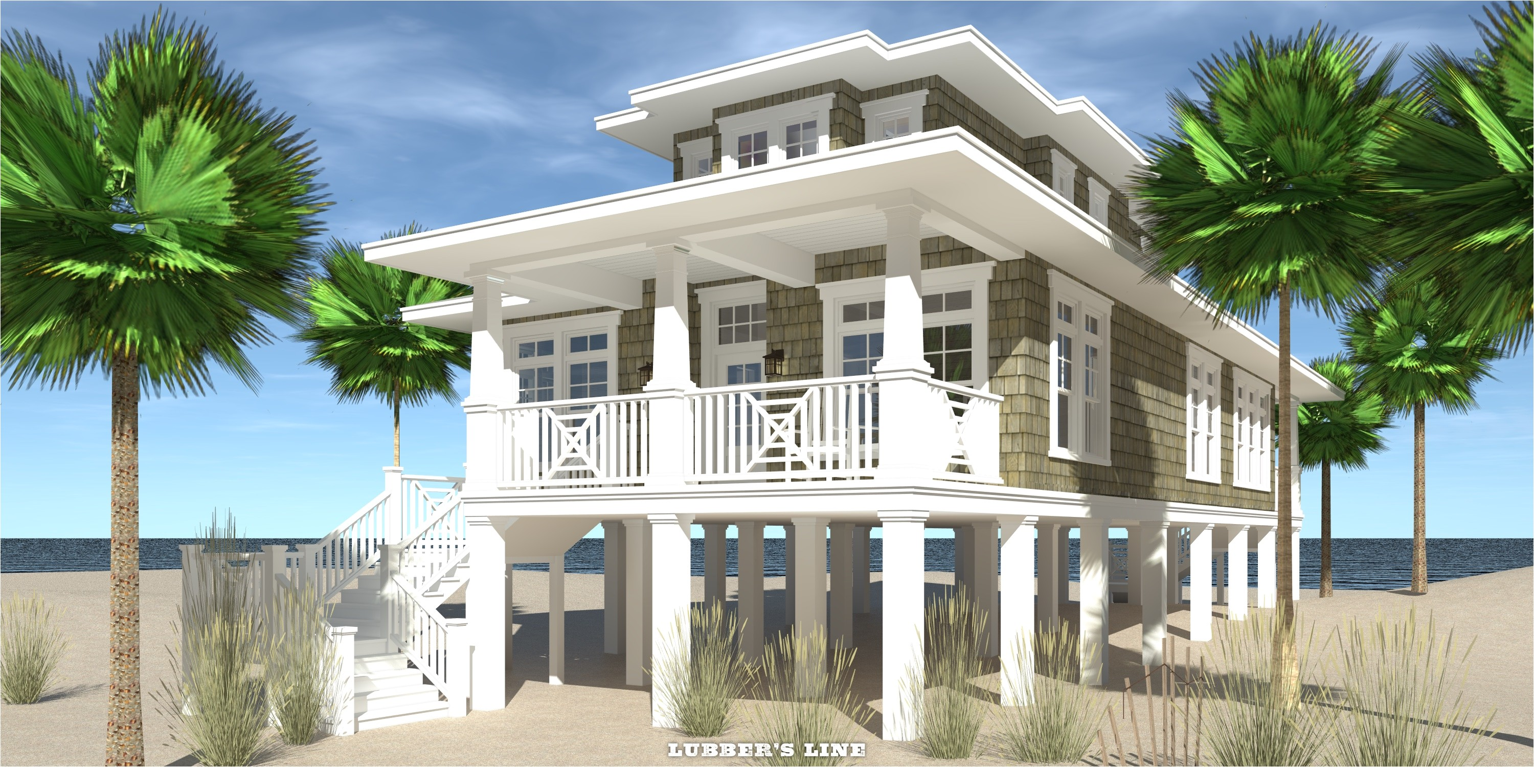 beach house plans with front view