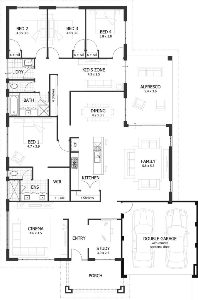 4 bedroom floor plans for a house