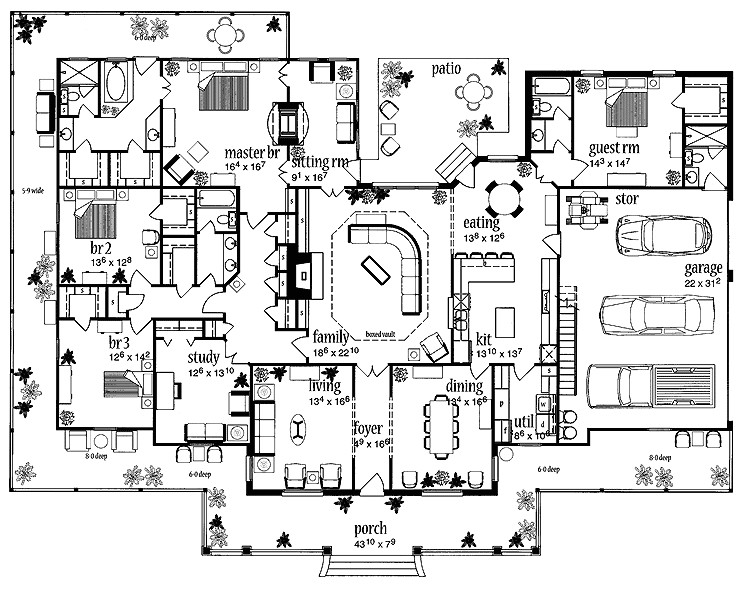 Big House Floor Plans 2 Story Floor Plans Aflfpw13992 1 Story Farmhouse Home with 4