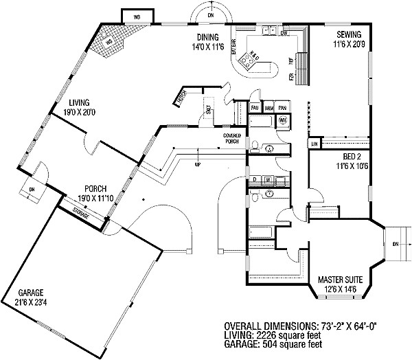 c shaped house floor plan