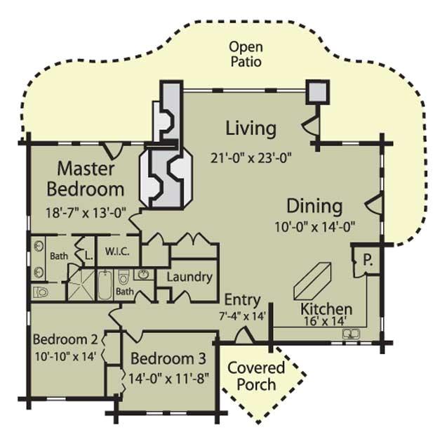 caribou floor plan log home