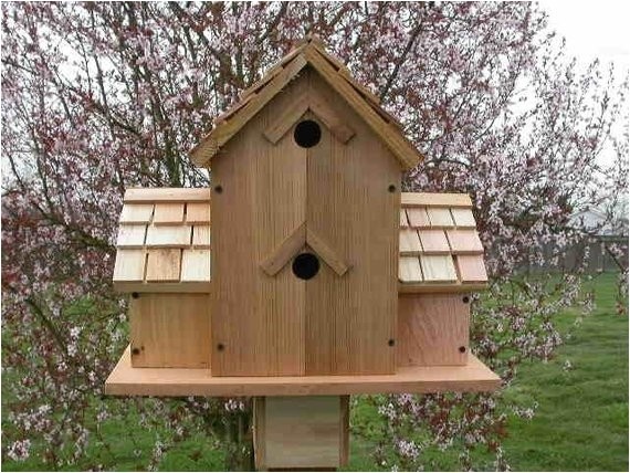 cedar birdhouse with 6 compartments