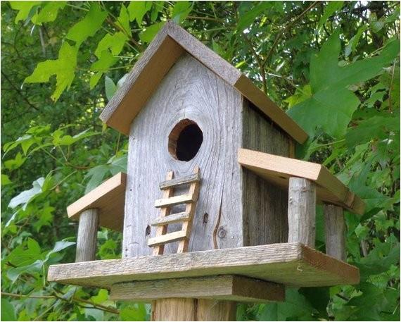 rustic reclaimed cedar birdhouse barn