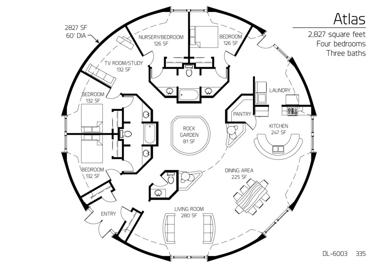 Concrete Dome Home Plan Floor Plan Dl 6003 Monolithic Dome Institute