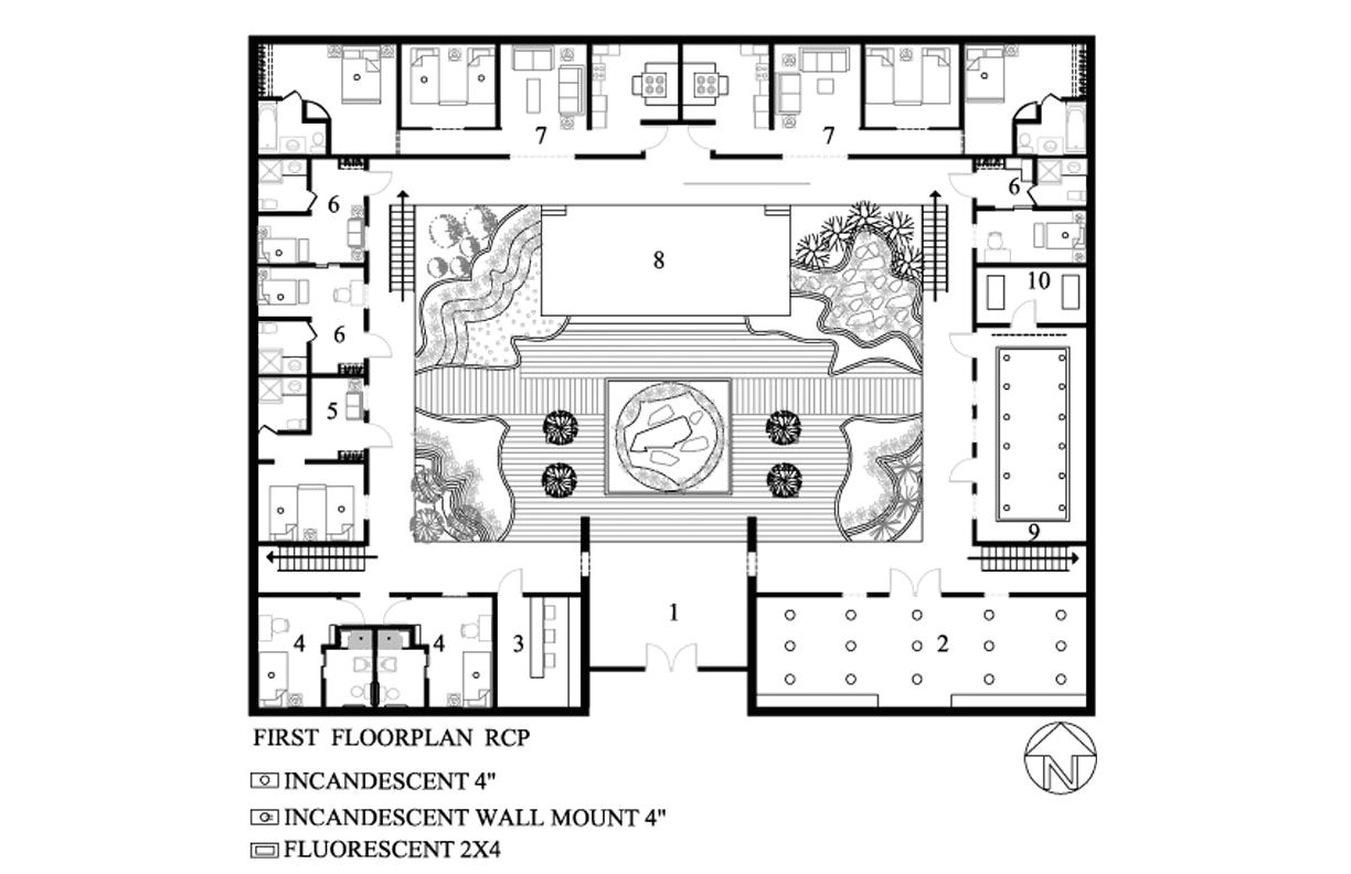 u shaped floor plans with courtyard