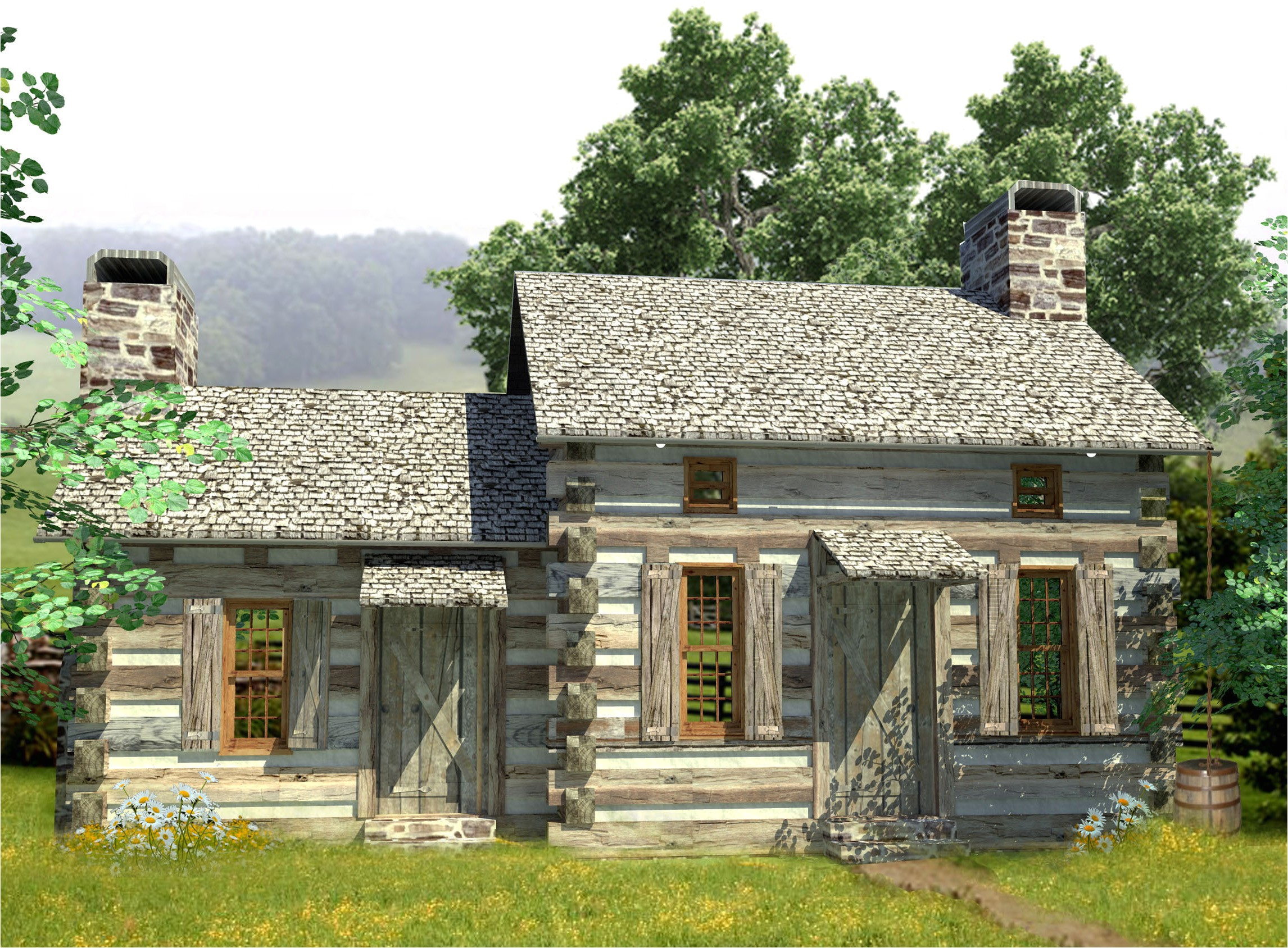 cozy log cabin 13330ww