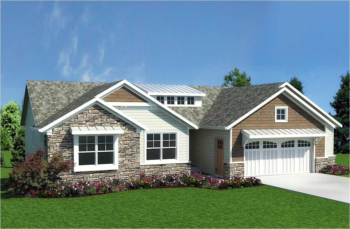 Craftsman Ranch Home Plans Craftsman Inspired Ranch Home Plan 18232be