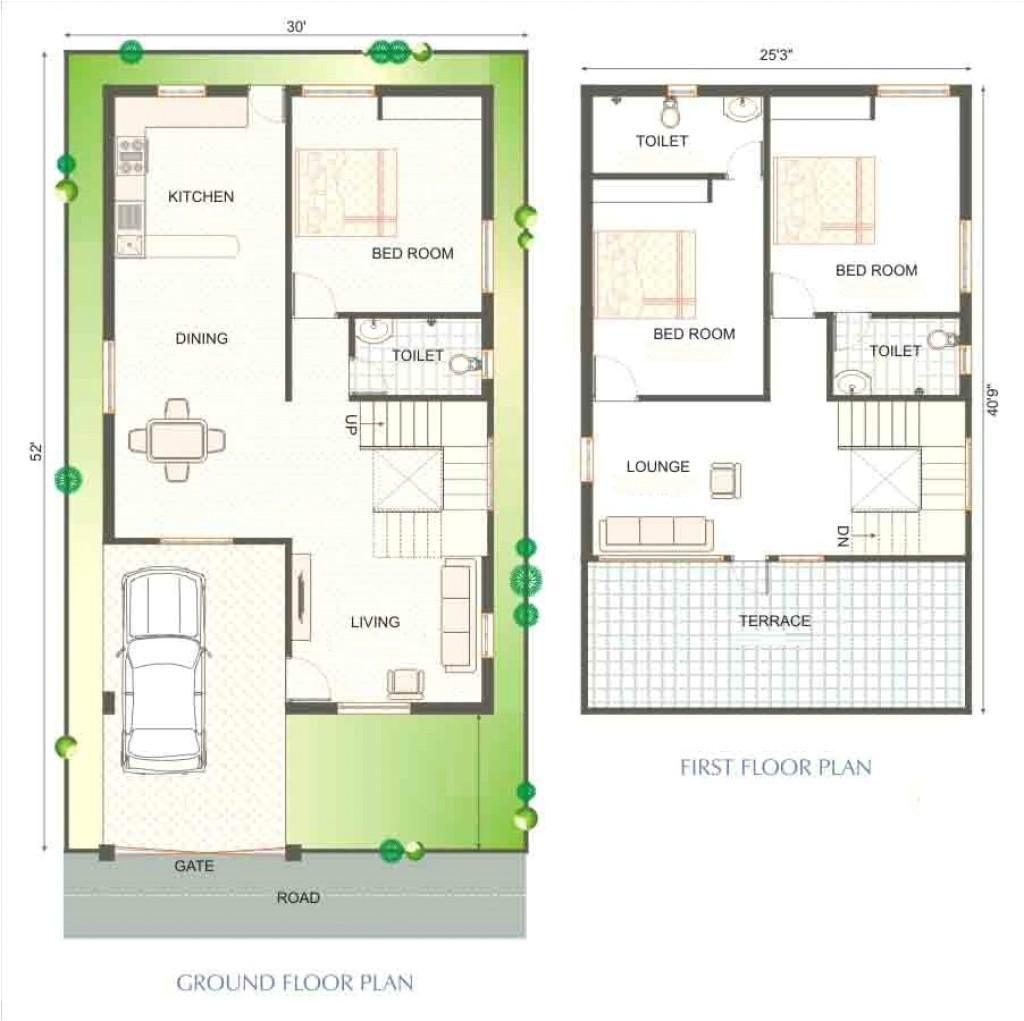 30 40 site duplex house plan