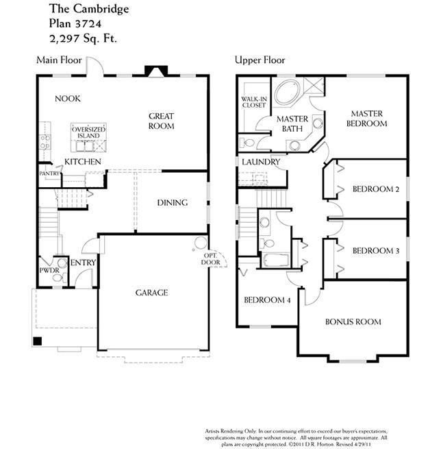 Dr Horton Home Floor Plans Cambridge Terra Woods Puyallup Washington D R Horton