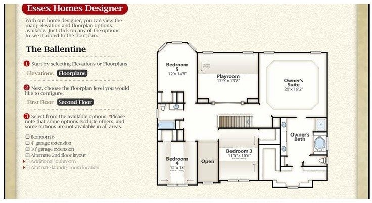 essex homes floor plans new the ballentine second floor check out the interactive floor plan