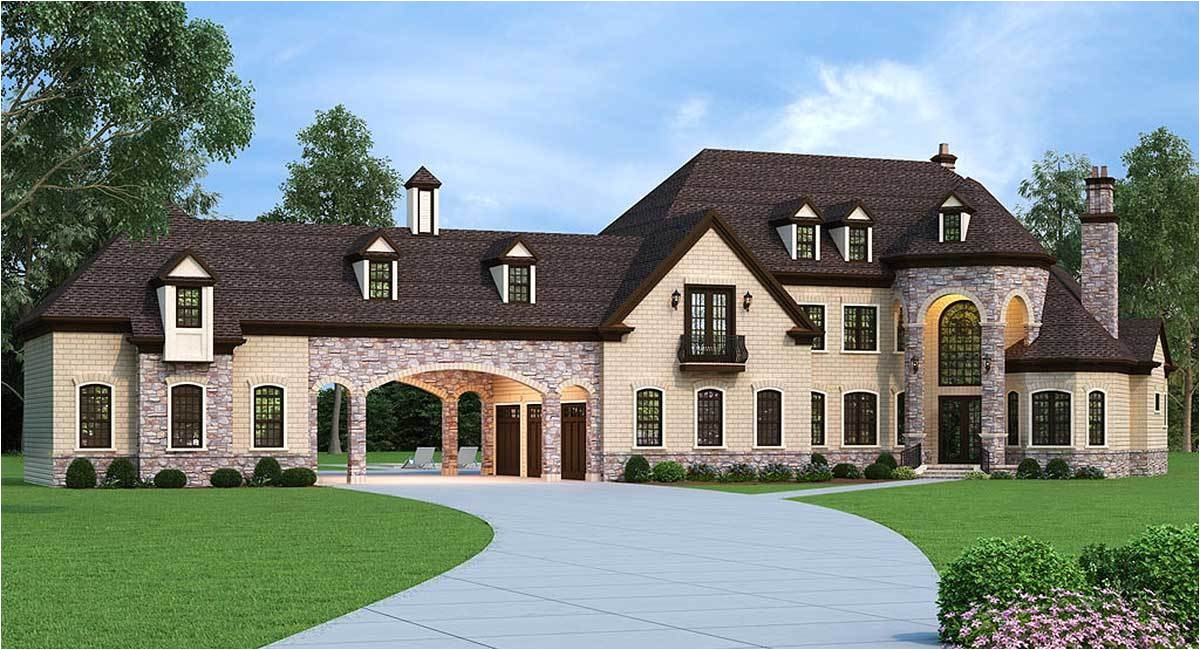 European Estate House Plans European Estate Home with Porte Cochere 12307jl