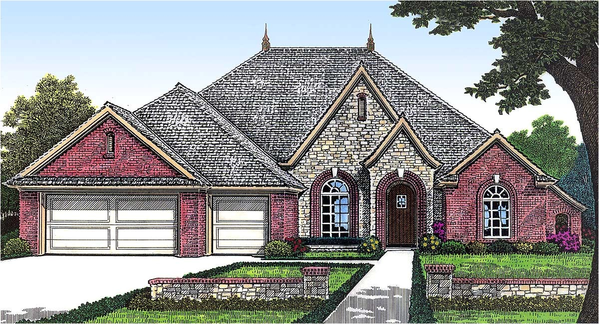 one story european house plan with bonus space 48303fm