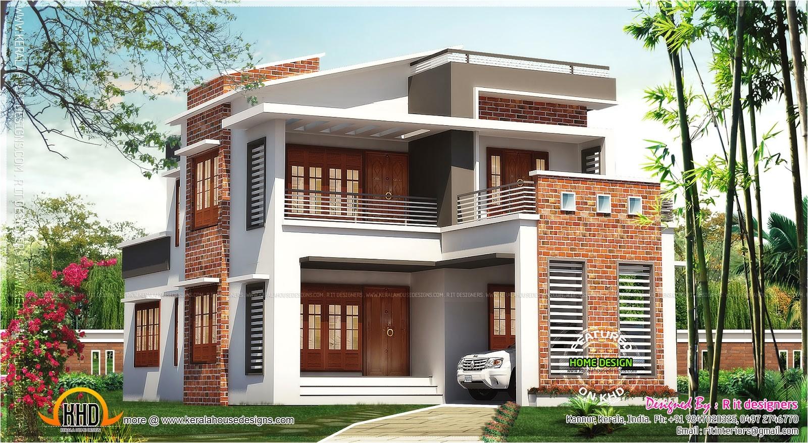 Exterior Home Plans Brick Mix House Exterior Design Kerala Home Design and