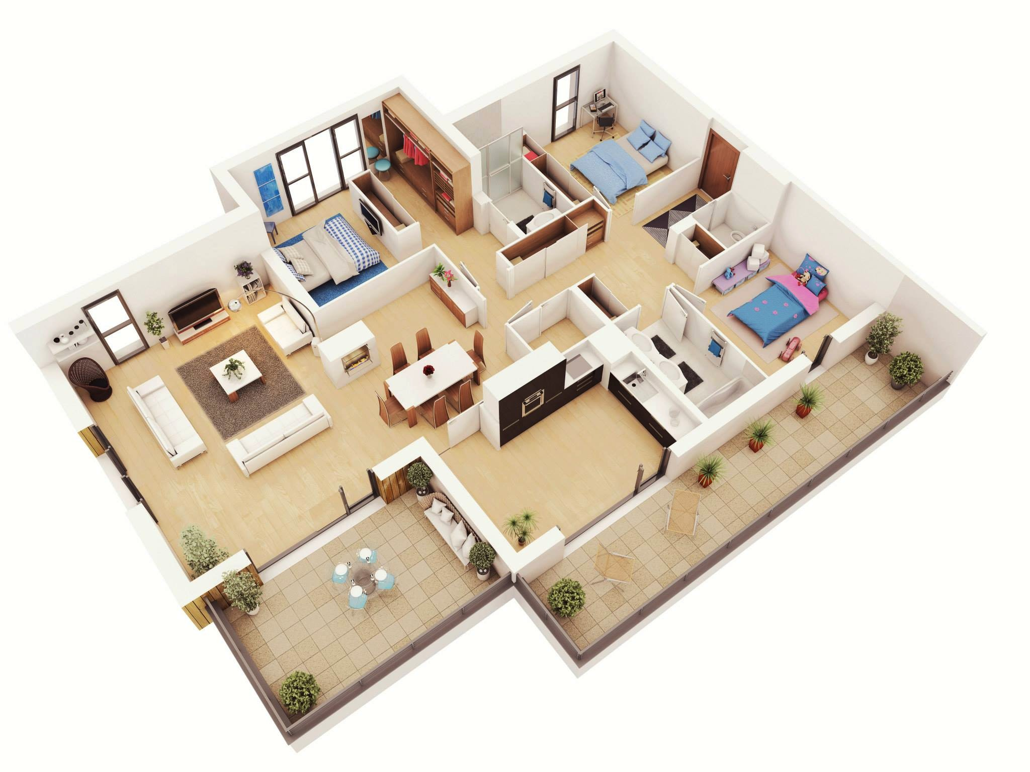 Floor Plans for A Three Bedroom House 25 More 3 Bedroom 3d Floor Plans