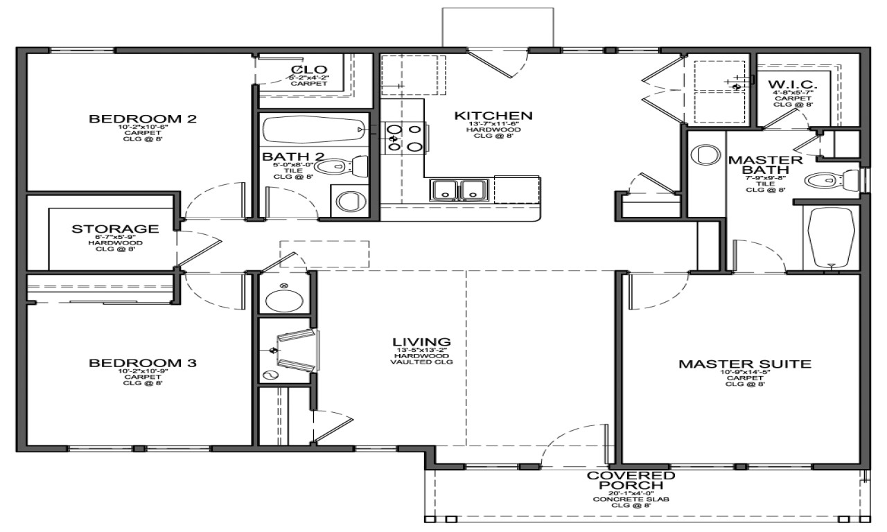 355c9fff4d2e4ed2 small 3 bedroom house floor plans cheap 4 bedroom house plan