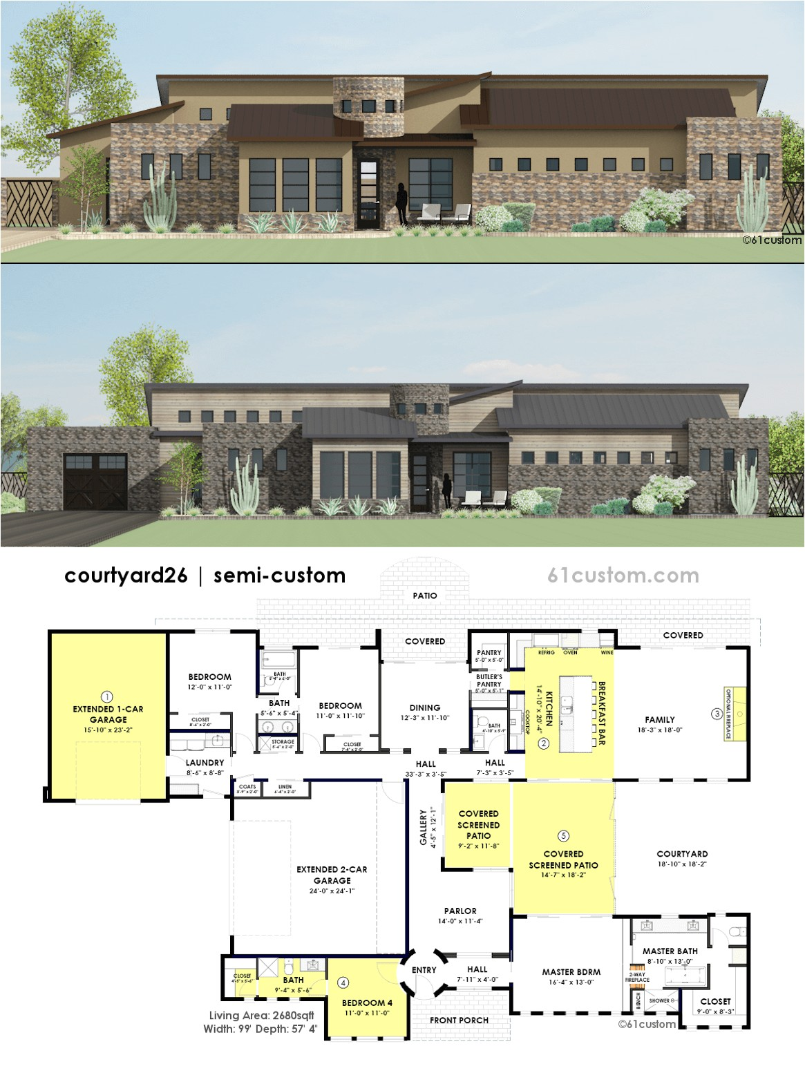 contemporary side courtyard plan