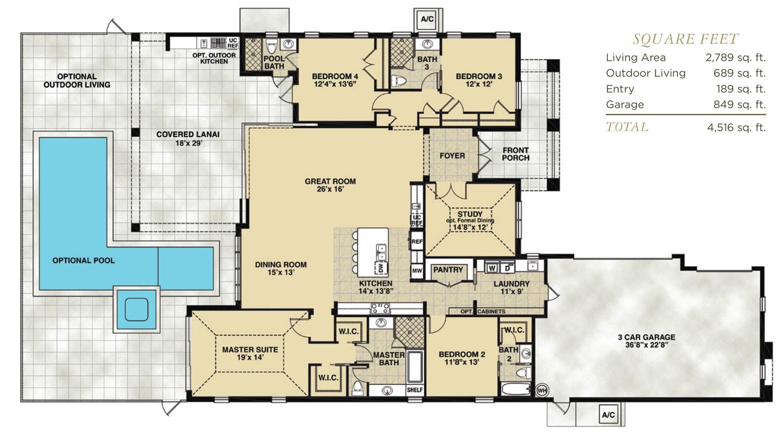 Florida Floor Plans for New Homes Hidden Harbor Estero