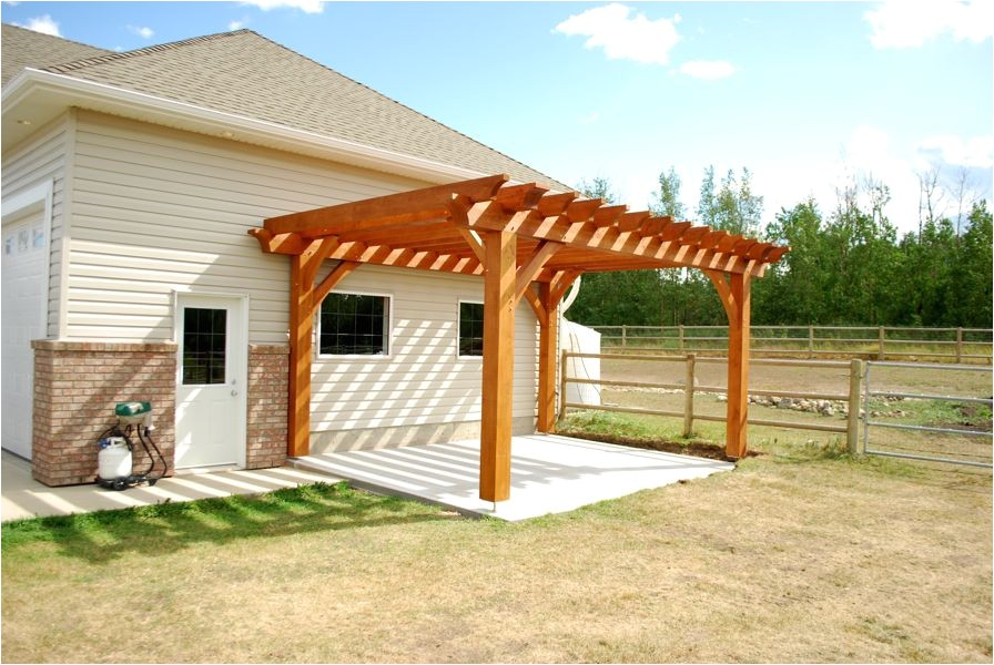 wood pergola plans most inspiring design cedar varnished finish posts crossbeams support gussets rafters terrace patio landscape