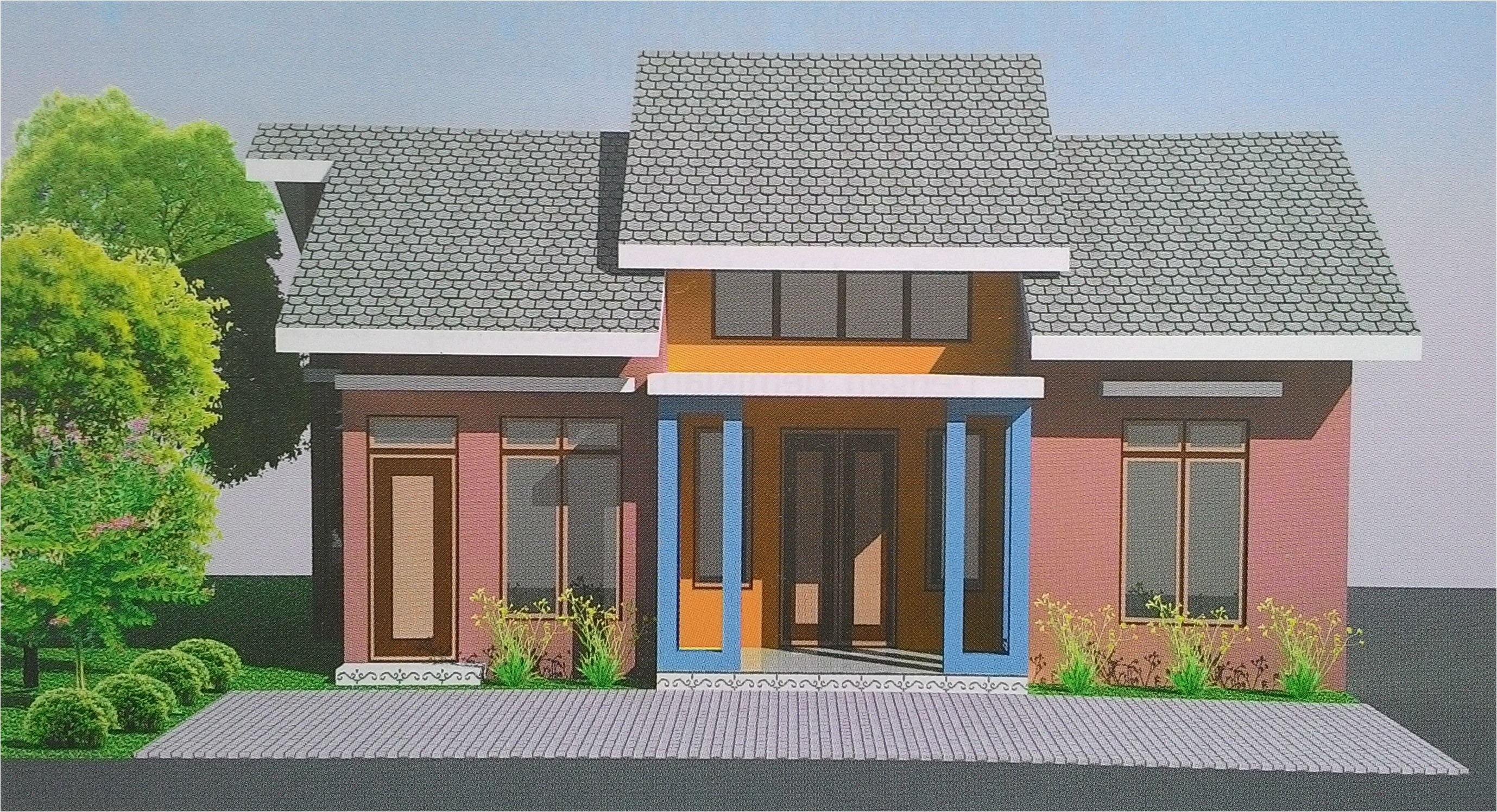 small house design with eye catching color game