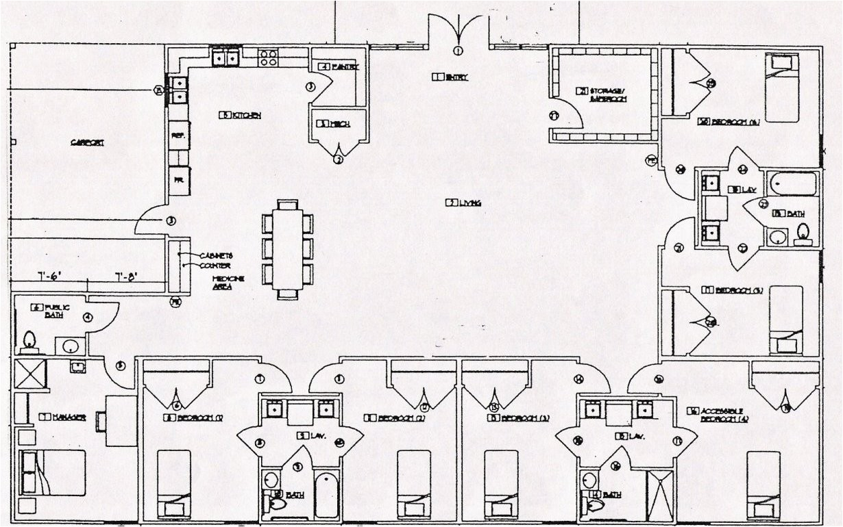 Group Home Floor Plans Group Homes Architecture Plans 27047