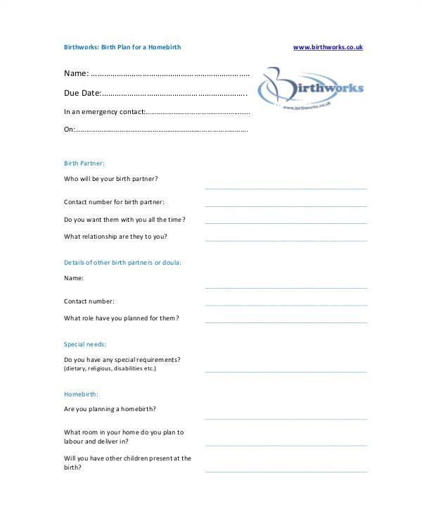 Home Birth Birth Plan Birth Plan Template 15 Free Word Pdf Documents