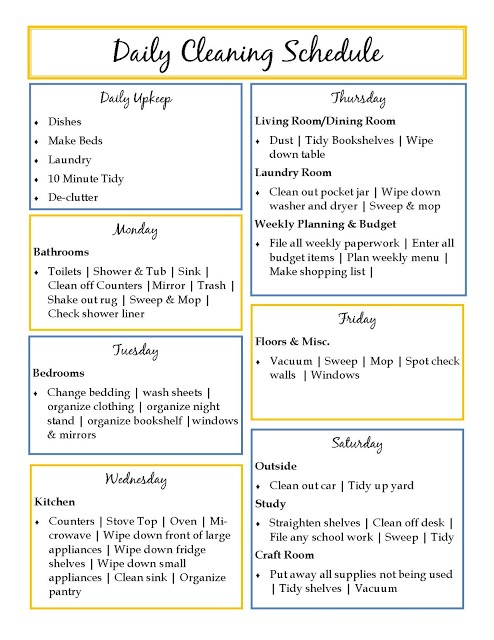daily house cleaning templates