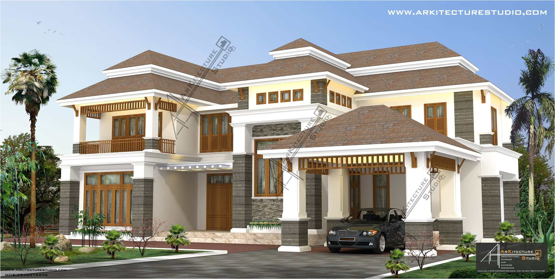 new colonial style house designs in kerala at 3500 sq ft and 5000 sq ft