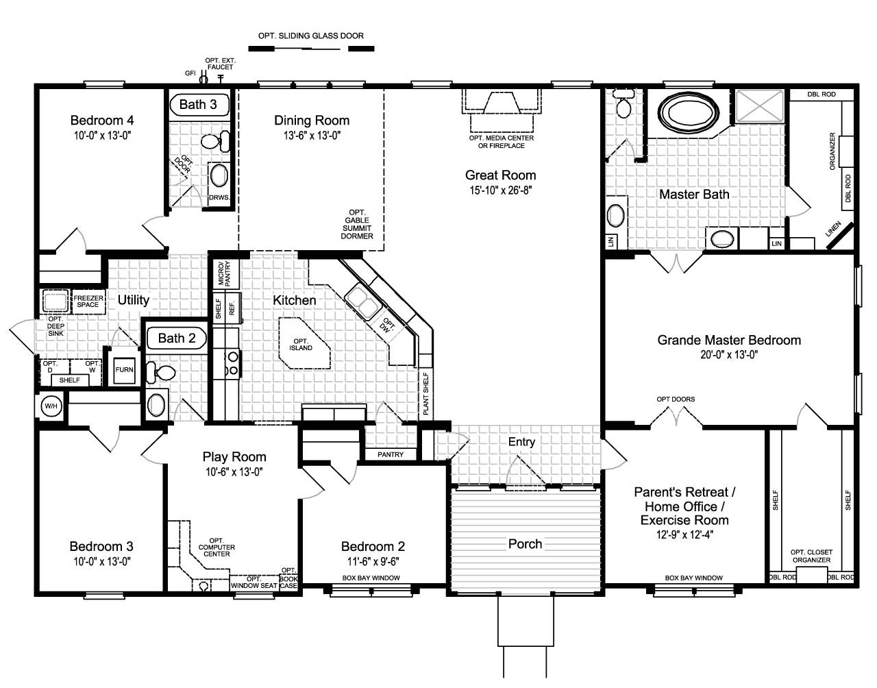 Home Floor Plan the Hacienda Ii Vr41664a Manufactured Home Floor Plan or