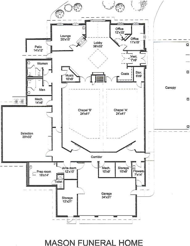 funeral home floor plan layout
