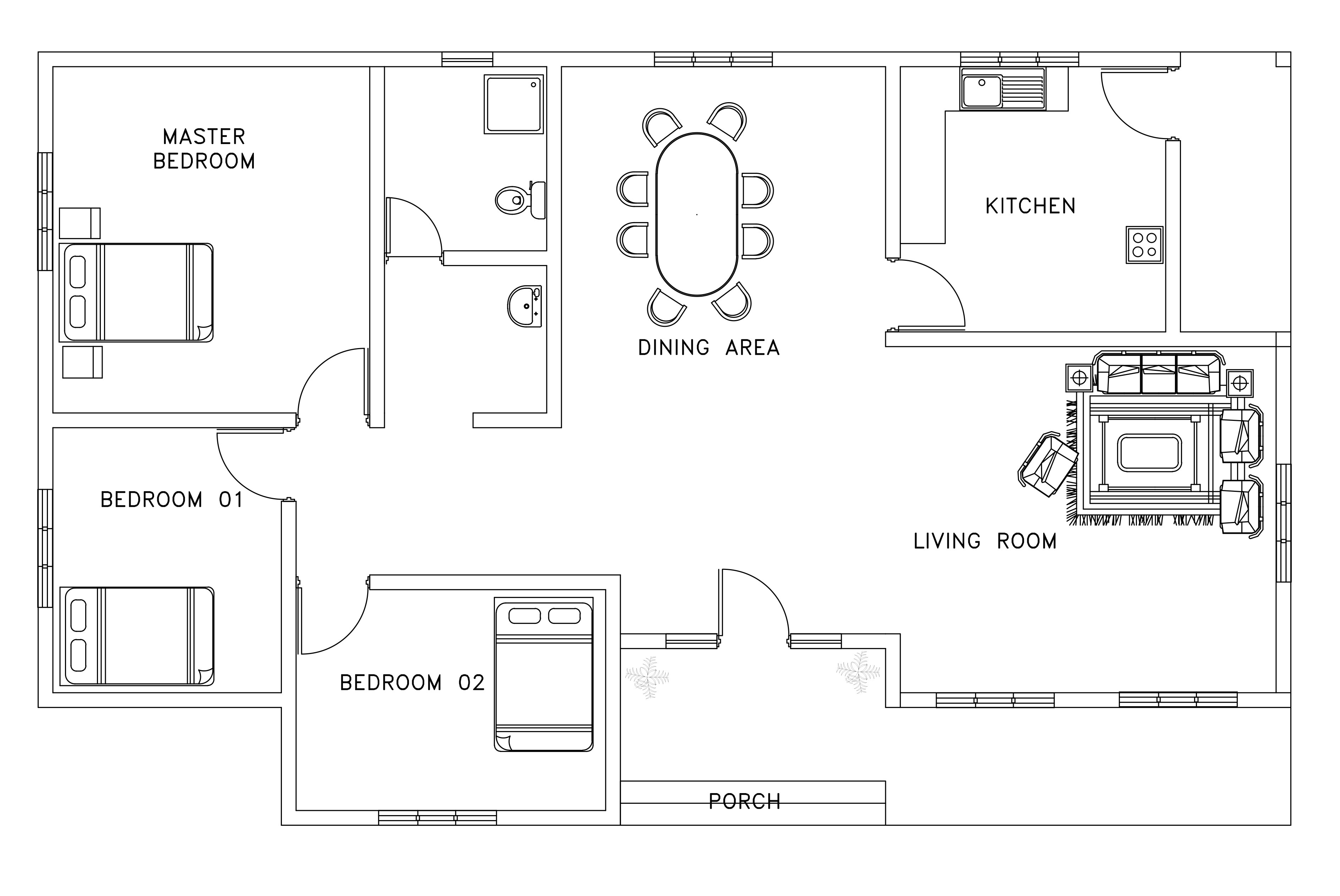 asian african style small house plan