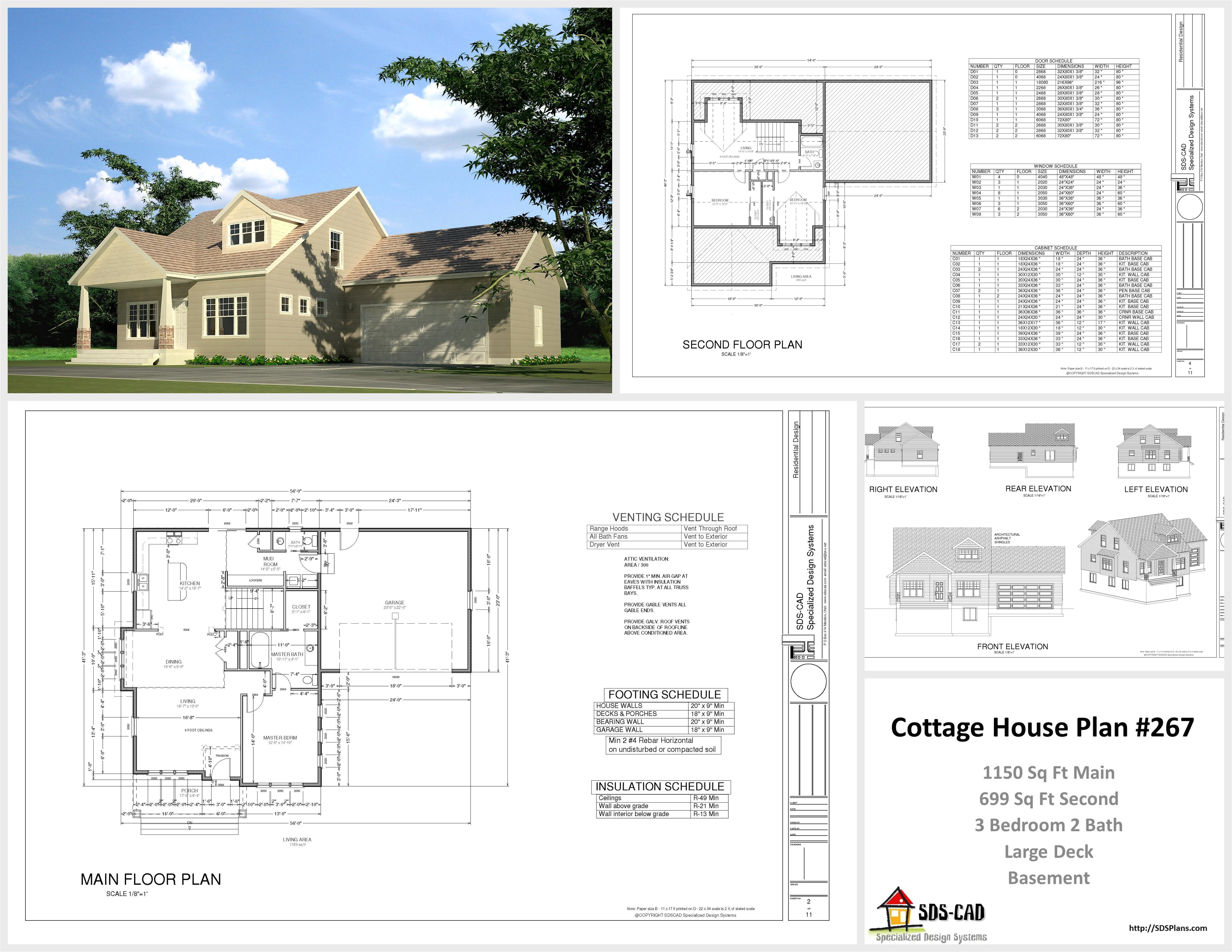 h267 cottage house plans in autocad dwg and pdf