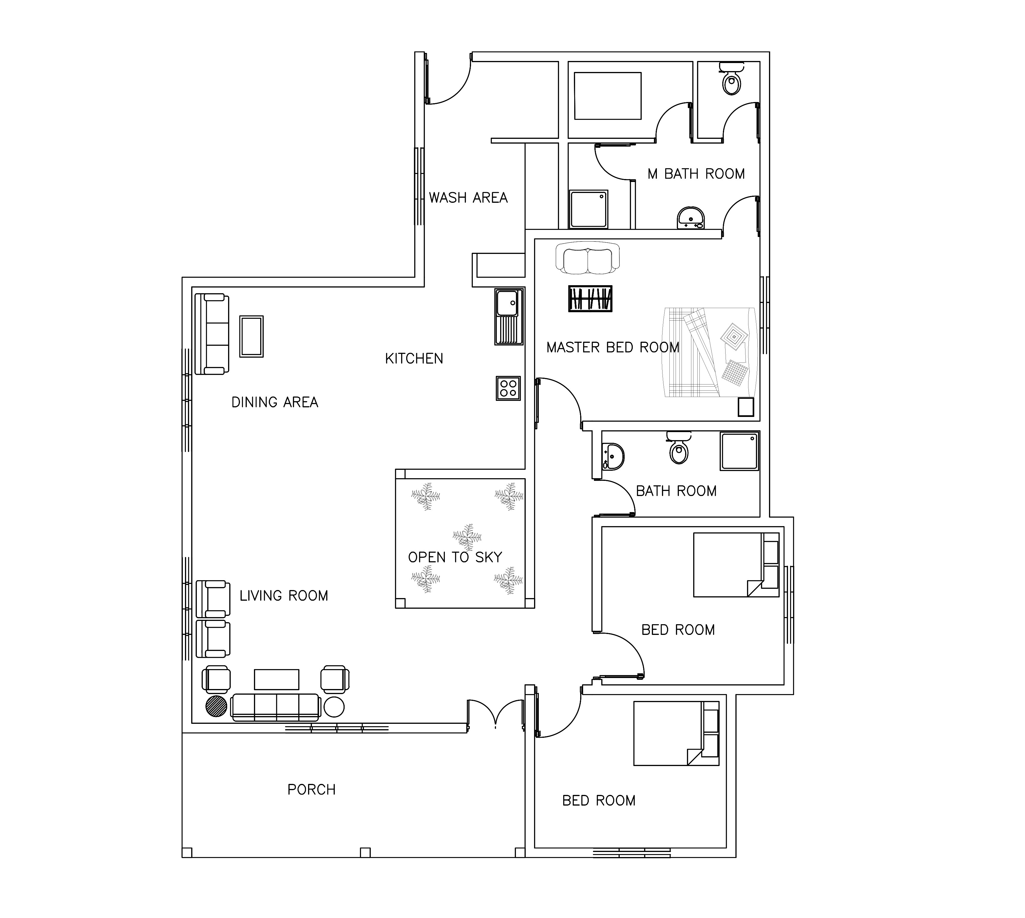 single story three bed room house plan 110