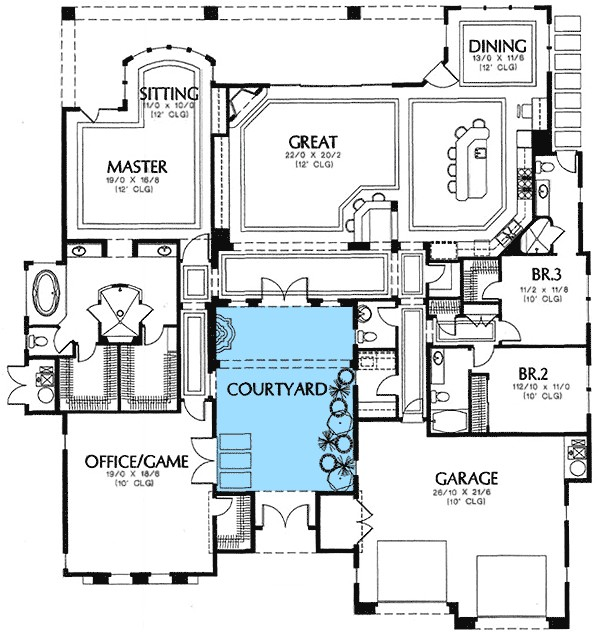 Home Plans with Courtyard In Center House Plans with Central Courtyard House Design Plans