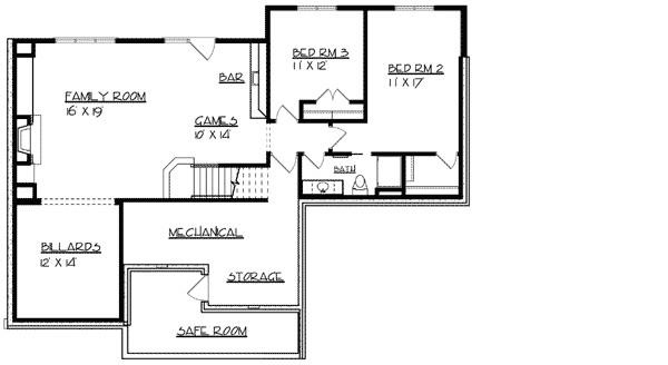 ranch home plan with safe room 73296hs
