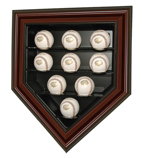p 1154640 9 baseball home plate cabinet design display case with mahogany color frame cwks14 mlb 228 m