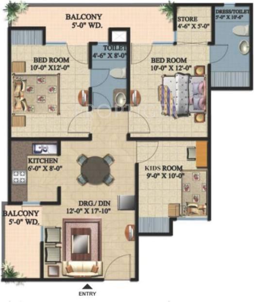 ajnara integrity floor plan 2bhk 2t 1175 sq ft 5086360 514867