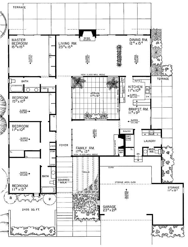 contemporary house plan with central atrium 0890w