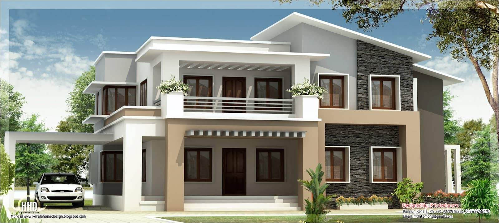 modern mix double floor home design indian house plans