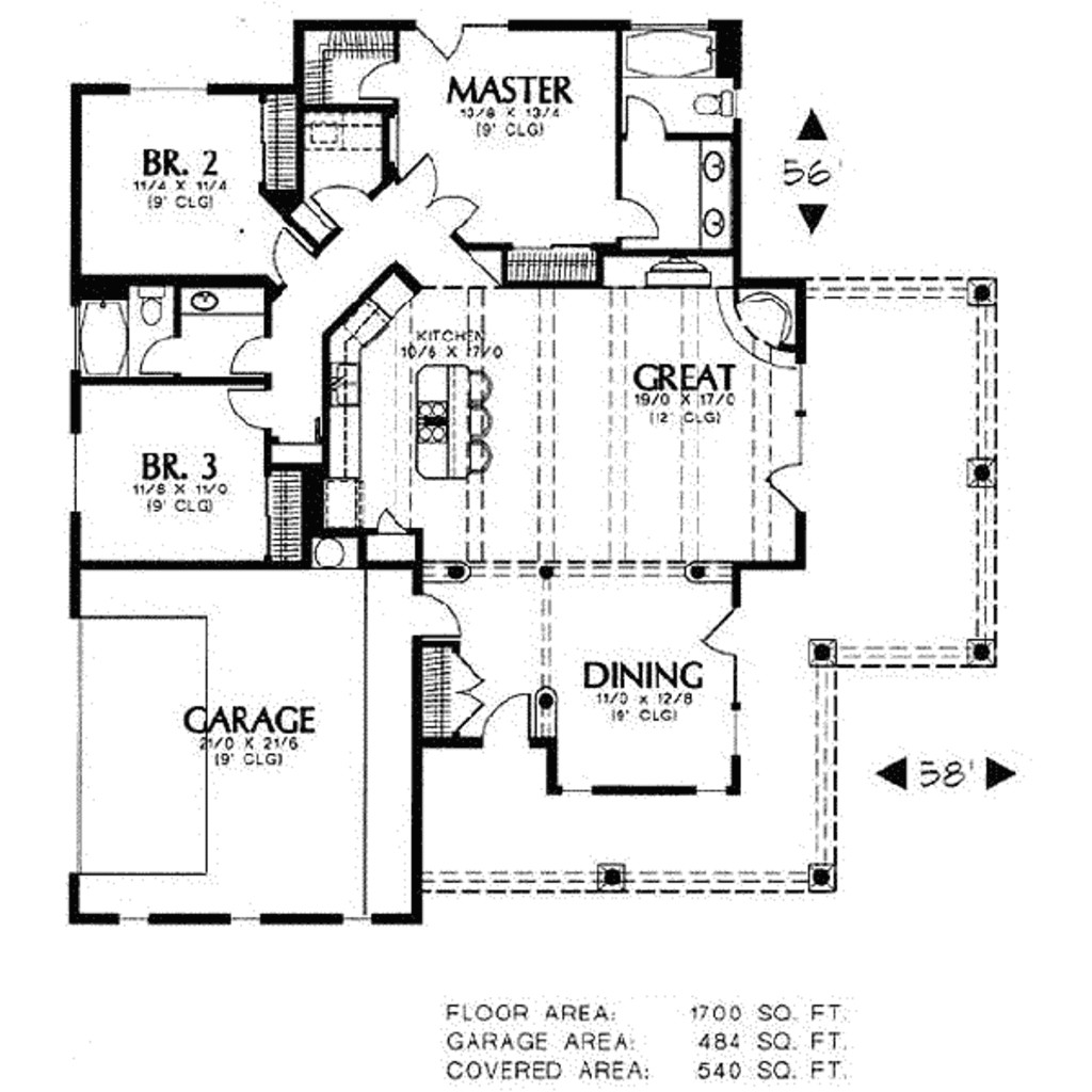 1700 square feet 3 bedrooms 2 bathroom adobe house plans 2 garage 11996