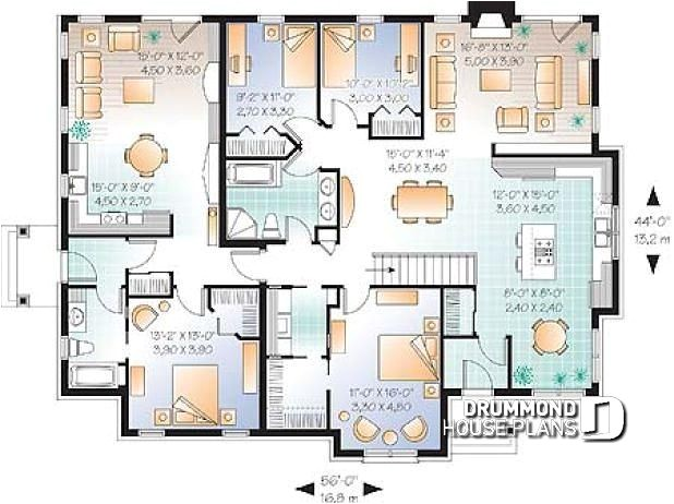 House Plans for Multigenerational Families Multi Family Plan W3043 Detail From Drummondhouseplans Com