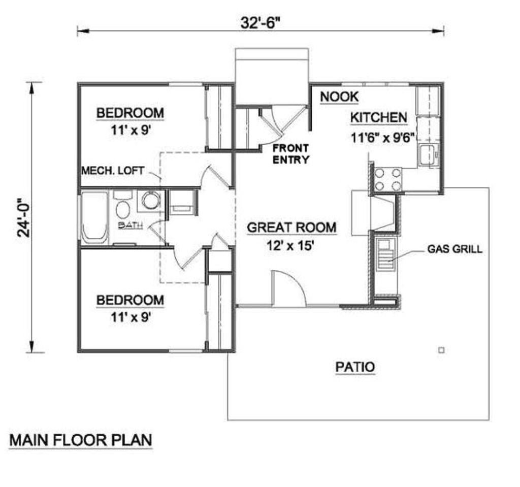 700 square feet 2 bedrooms 1 bathroom country house plans 0 garage 15329