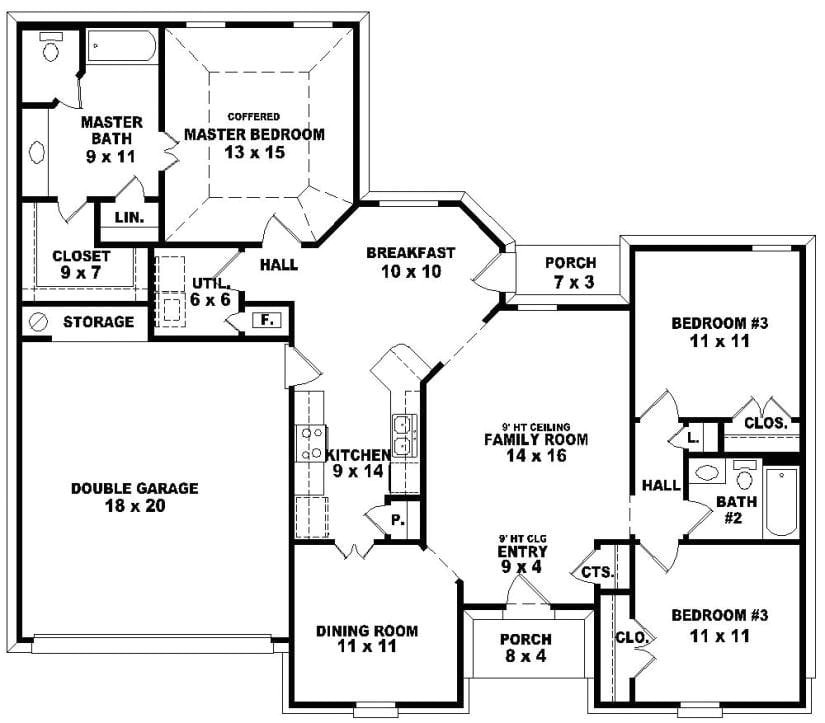 House Plans with 3 Bedrooms 2 Baths 3 Bedroom 2 Bath 1 Story House Plans Beautiful House Plans