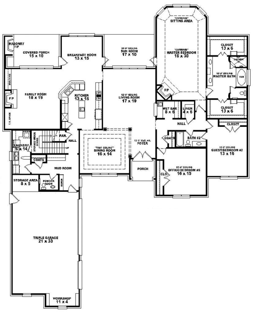4 bedroom 3 bathroom house plans