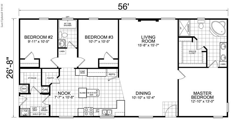 28x40 3 bedroom 2 bath 1066 square feet