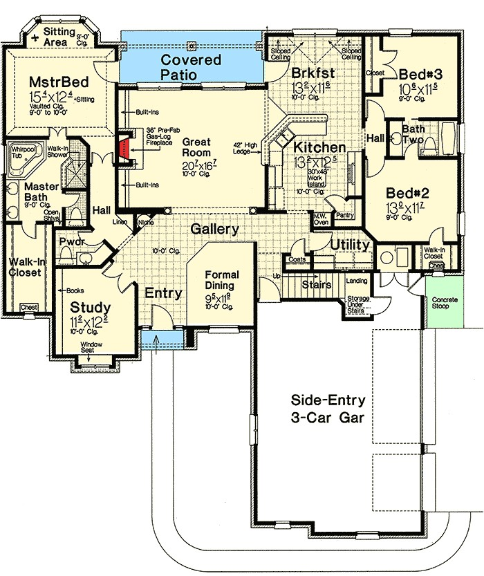3 bed french country house plan with 3 car garage and bonus room 48549fm