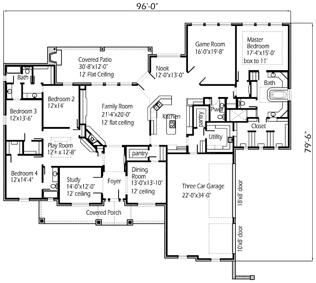 four bedroom large family house floor plans layout