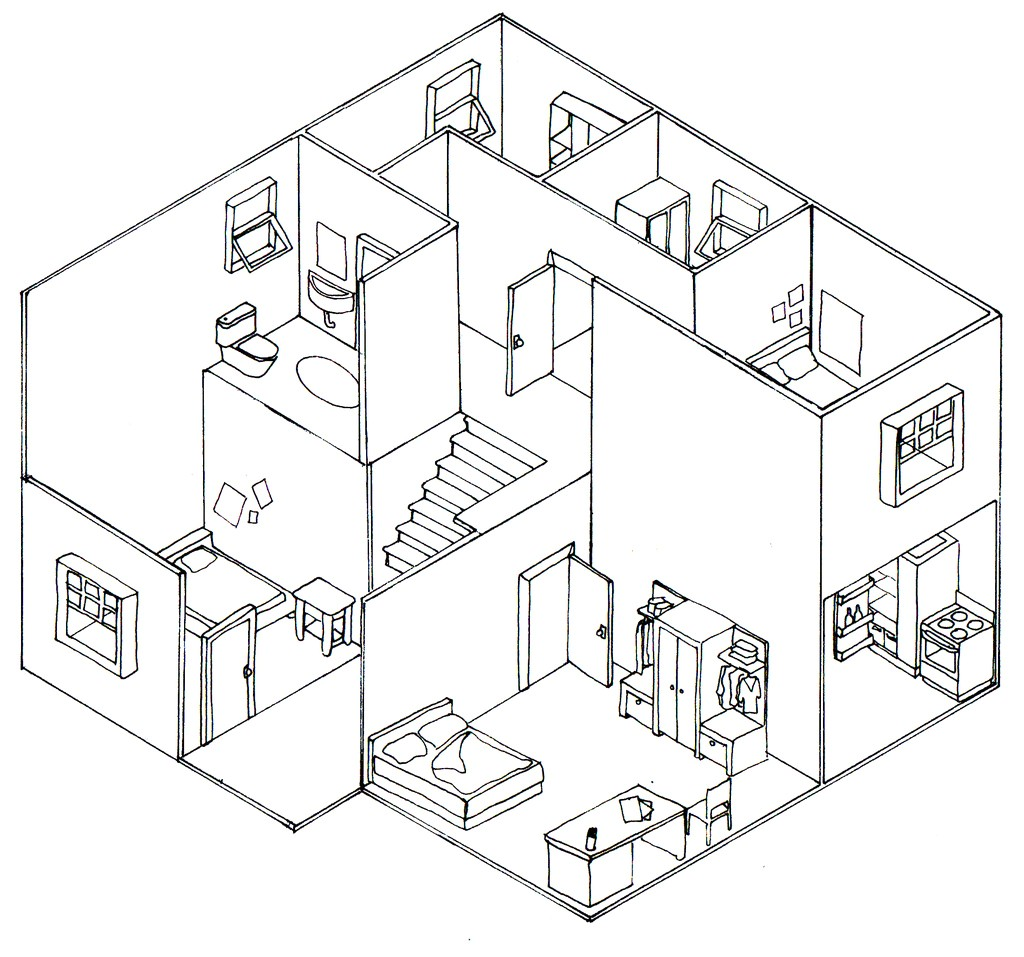 plan oblique and isometric technical drawings